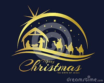 Merry christmas the birth of jesus banner with gold Nativity of Jesus scene and Three wise men go for the star of Bethlehem vector