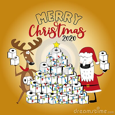 Merry  Christmas 2020 -Funny reindeer and Santa Claus in facemask and toilet paper christmas tree.