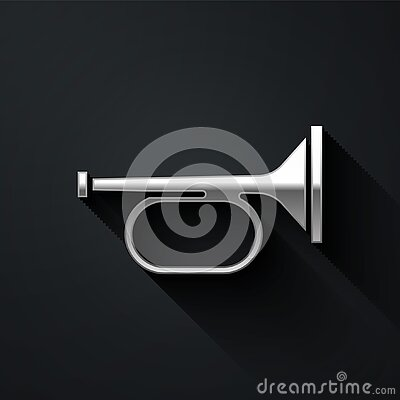 Silver Trumpet icon isolated on black background. Musical instrument trumpet. Long shadow style. Vector