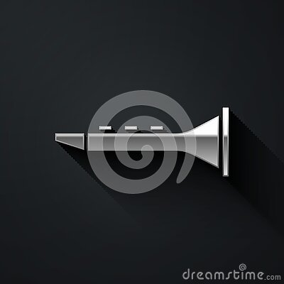 Silver Clarinet icon isolated on black background. Musical instrument. Long shadow style. Vector