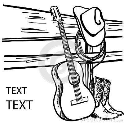 Country music poster. Acoustic guitar and Cowboy hat and boots on fence. Vector Western graphic image background for text