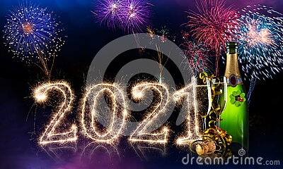 Happy new year eve colorful fireworks sparkler 2021 number four leaf clover champagne bottle glass front of red purple blue black