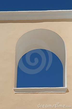 Blue sky in a window
