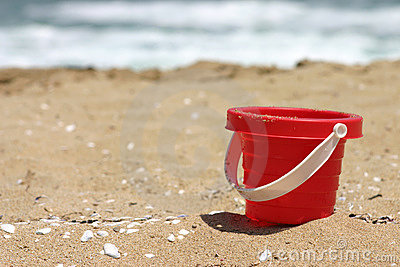 Red toy beach bucket