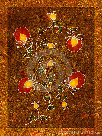 Red Gold Flower Blossoms Art