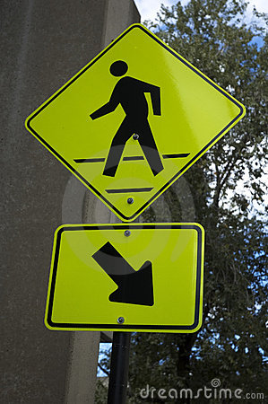 Bright yellow pedestrian sign