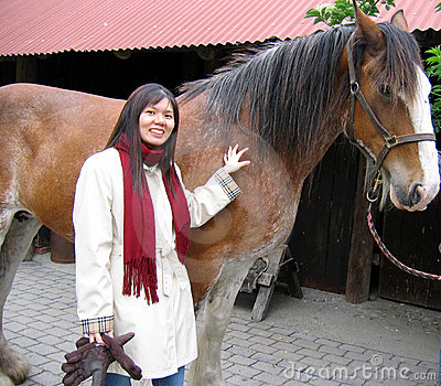 Asian woman with horse