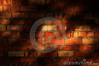 Brick wall with evening shadows