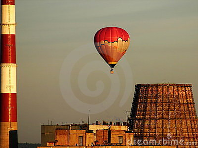 Hot-air balloon over the factory