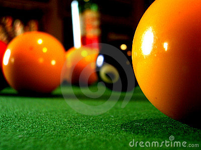 A close up of a pool table