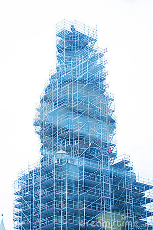 Church tower in scaffolding