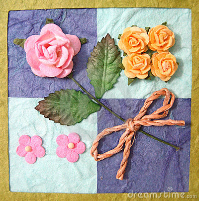 Collage of flowers on quilt