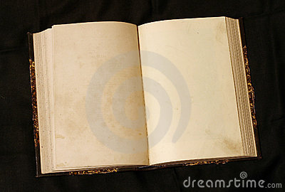 Open empty pages in old book