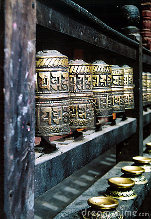 Buddhist Prayer Wheels in a Row 2