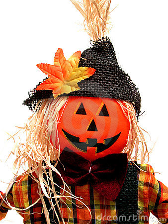 Seasonal:  Pumpkin Headed Scarecrow on White