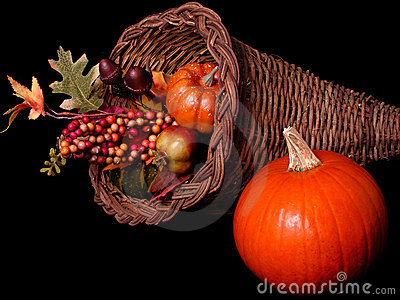 Pumpkin & Horn Basket Arrangement on Black