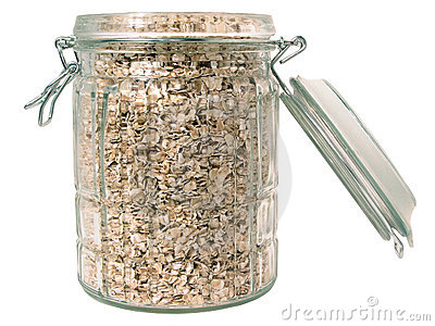 Food: Raw Oats in a Glass Jar (Isolated)