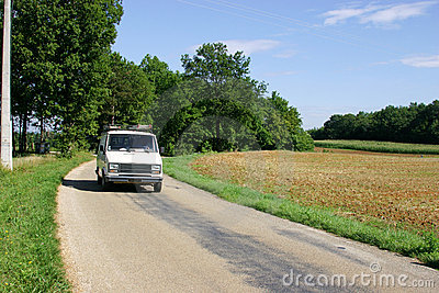 White Van on french country road