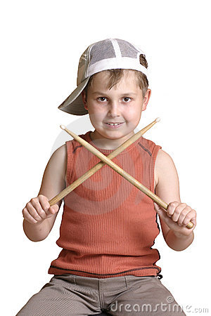 Drummer with crossed drumsticks