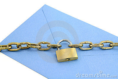 Blue envelope and lock