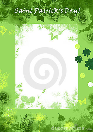 Saint Patric's day grunge background, green, floral