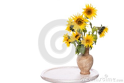 Beautiful sunflowers in vase on the table