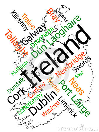 stock image of ireland map and cities