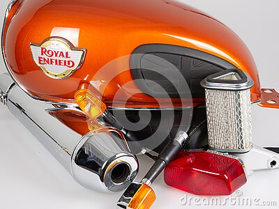 Royal Enfield interceptor twin motorbike parts with logo sign on tank motorcycle in