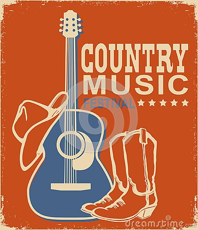 Retro Country music poster of acoustic guitar and cowboy American hat and boots. Vector music background with text on old paper
