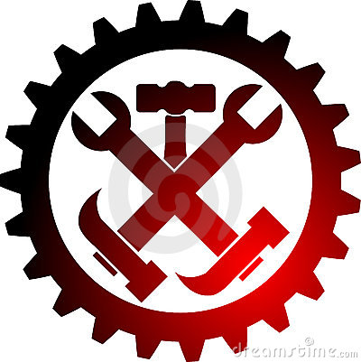 Illustration art of a tool gear logo with isolated background