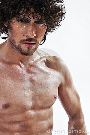 Semi nude portraits of handsome muscular man