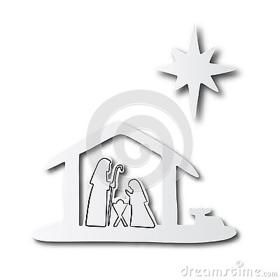 Black line hand drawn of Christmas Christian Nativity Scene of baby Jesus in manger with Mary and Joseph on cut paper with shadow