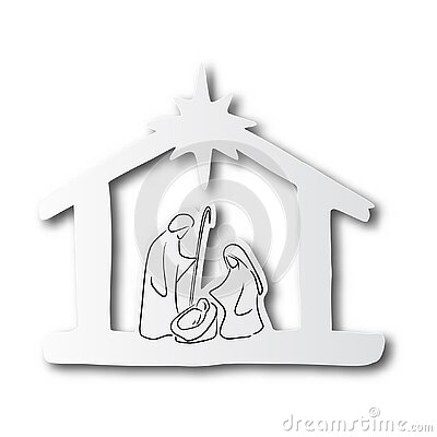 Black line hand drawn of nativity scene on cut paper with shadow isolated on white background