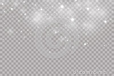 Falling hail or snow on a transparent background. Falling water drops texture.