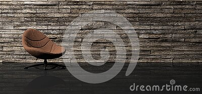 Comfortable Classy Classic Lounge Chair In Empty Minimalist Room With Wooden Planks Wall With Space For Text And Refelctive Glossy
