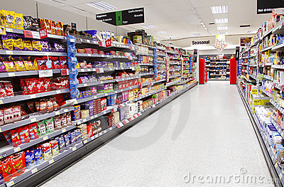 Supermarket aisle empty