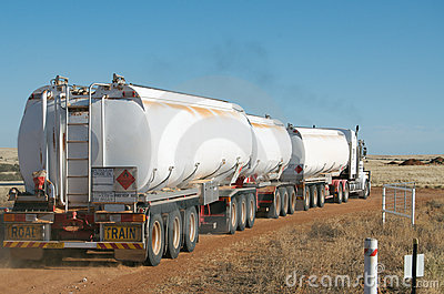 Road train carrying fuel
