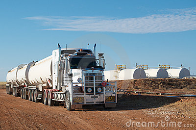 Road train and oil tanks