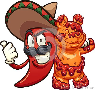 Mexican chili pepper holding a gummy bear