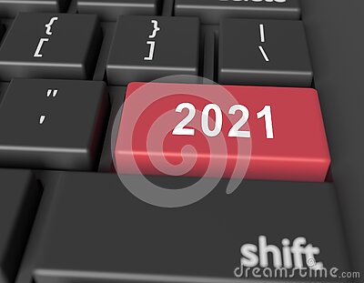 Number 2021 on a computer keyboard