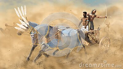 Ancient Egyptian war chariot in battle with archer and driver
