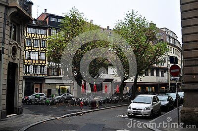 View landscape cityscape and classic retro vintage building old town for French people and traveler foreign travel visit and