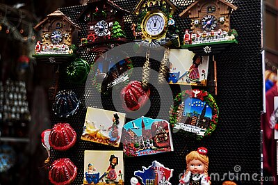 Souvenirs for French people and travelers foreign buy from souvenir gift shop in Place Kleber square old town at Strasbourg city