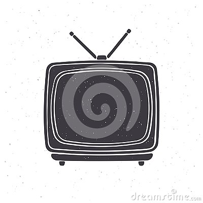 Silhouette of analogue retro TV with antenna and plastic body. Vector illustration. Television box for news and show translation.
