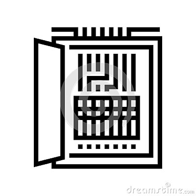 electrical fuses box line icon vector illustration
