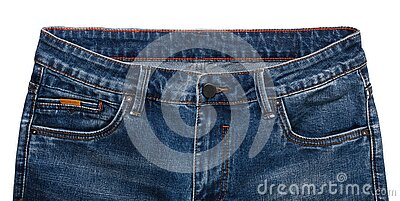Front pockets, waist area, zipper, and its button of dark blue jeans isolated on white background. Close up shot. Clothing concept