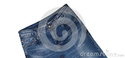 Front pockets, waist area, zipper, and its button of dark blue jeans slightly tilted and isolated on white background. Close up