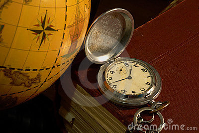 Ancient map and watch