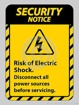 Security notice Risk of electric shock Symbol Sign Isolate on White Background
