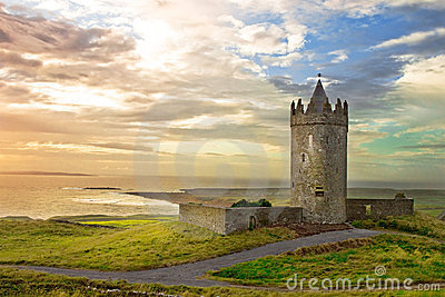 Doonagore Castle in the beautiful scenery, Ireland
